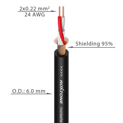 ROXTONE MC002-BK микрофонный кабель 2x0.22 кв. мм