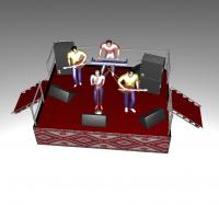 Сценический подиум стальной 4х3 высотой 1 м